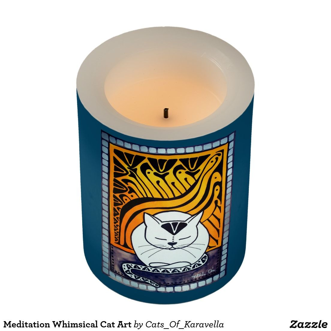 Meditation Whimsical Cat Art Flameless Candle