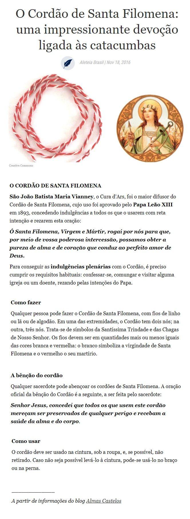 Cordao De Santa Filomena Jesus E Maria Filomena Filho Da Luz