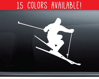 Jumping Skier Ski Vinyl Decal Vinyl Sticker by VinylWallAccents