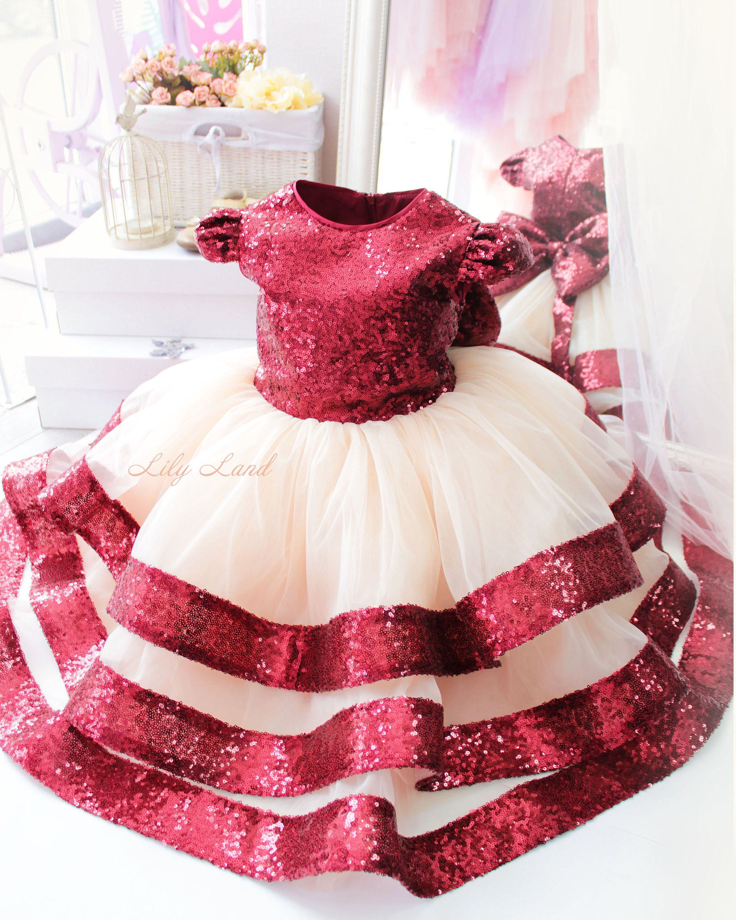 Girl dress Flower Girl Dress Burgundy Girl Dress tutu dress girls