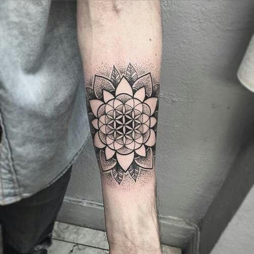 Forearm Tattoo Flower Of Life Tattoo Geometric Mandala Tattoo Life Tattoos