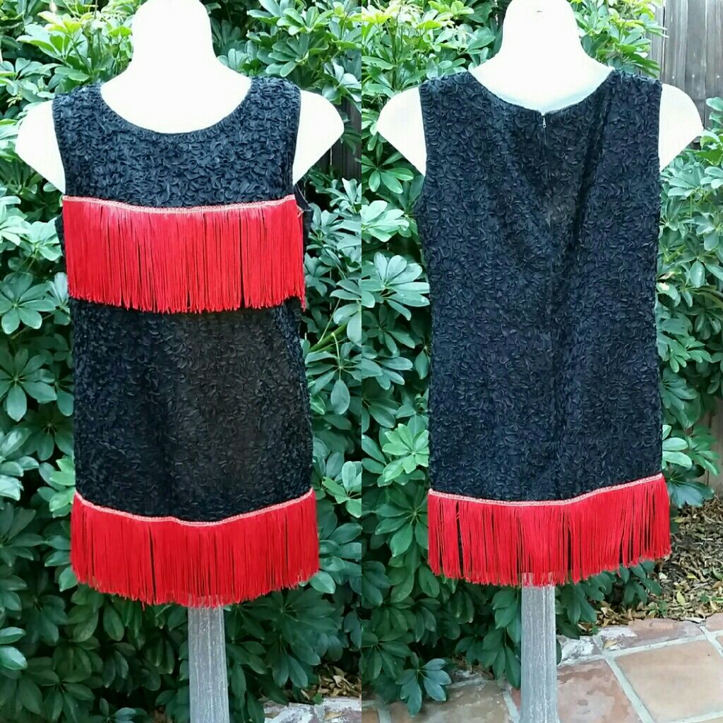 Vintage flapper s style red fringe black dress products