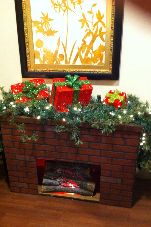 Faux Fireplace we made with fake logs | Christmas ...