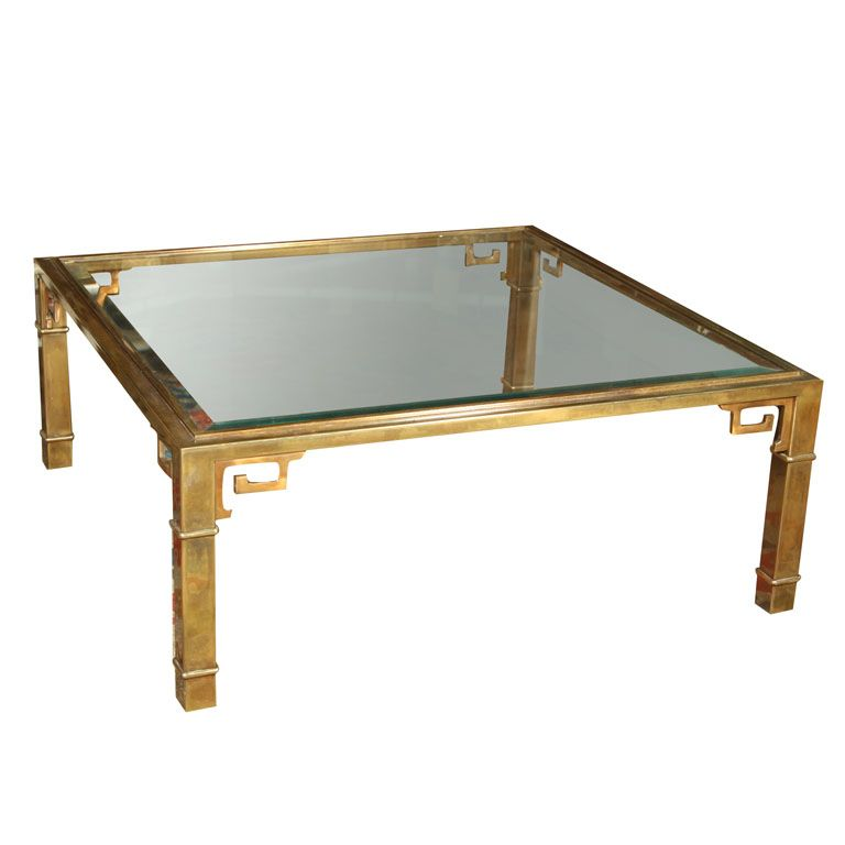 Square Brass Mastercraft Cocktail Coffee Table With Glass Top