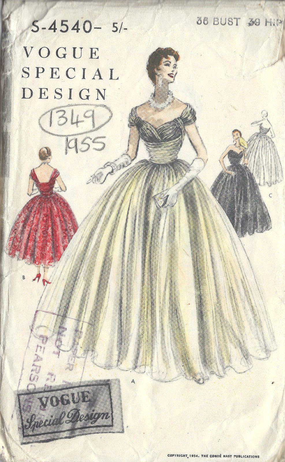 1954 Vintage VOGUE Sewing Pattern B36 DRESS (1349) | Figurin ...