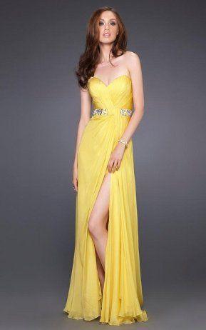 Vestidos Elegantes Con Abertura En La Pierna Vestidos De Fiesta Vestidos De Fiesta Largos Vestidos Amarillos De Fiesta