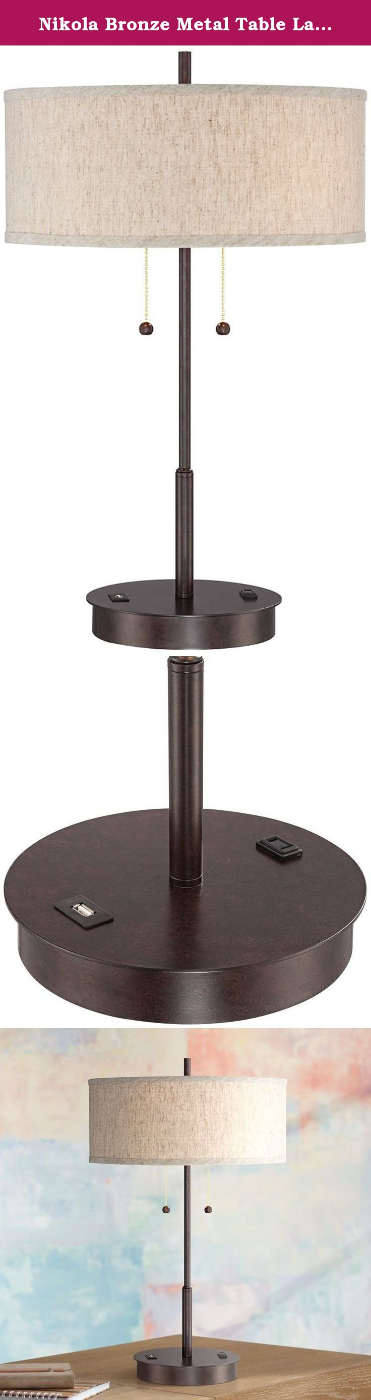 Nikola bronze metal table lamp with usb port perfect for a side nikola bronze metal table lamp with usb port perfect for a side table or end geotapseo Gallery