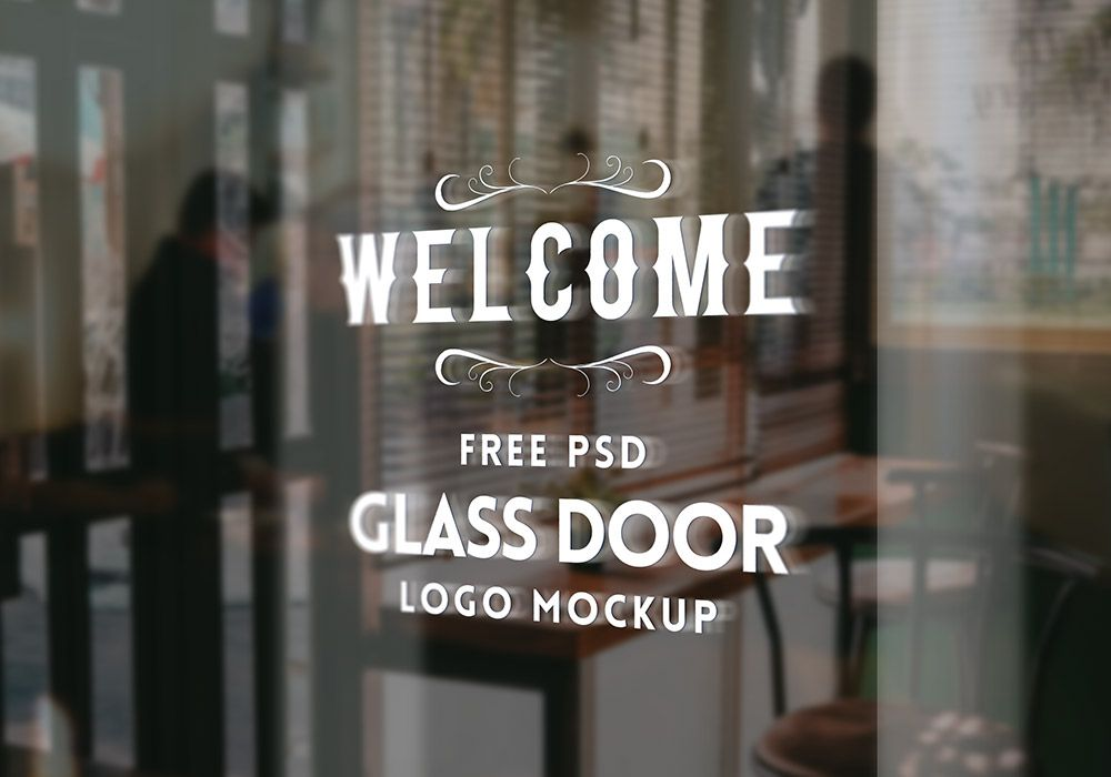 Glass Door Logo Mockup Psd Mockup