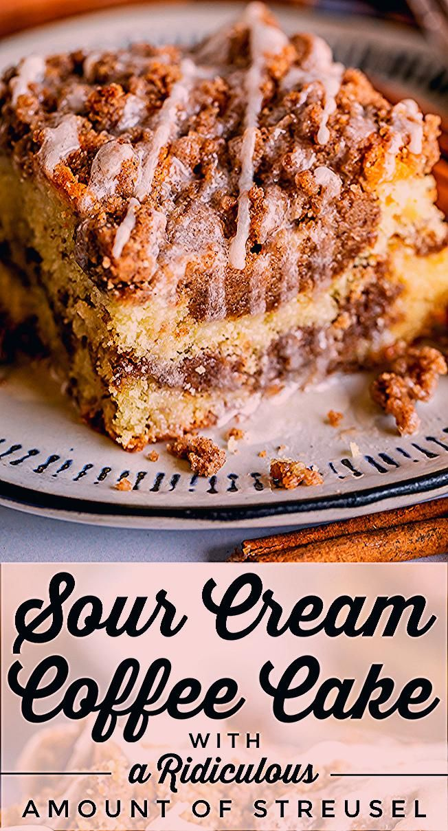 Sour Cream Coffee Cake with a Ridiculous Amount of Streusel from The Food Charlatan This is my FAVORITE recipe for Sour Cream Coffee Cake My main complaint with Coffee Ca...