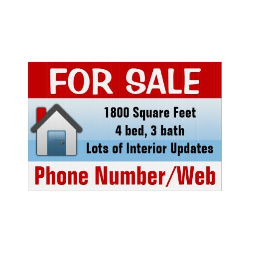 Customizable House For Sale Sign Modern Blue Sign Zazzle Com