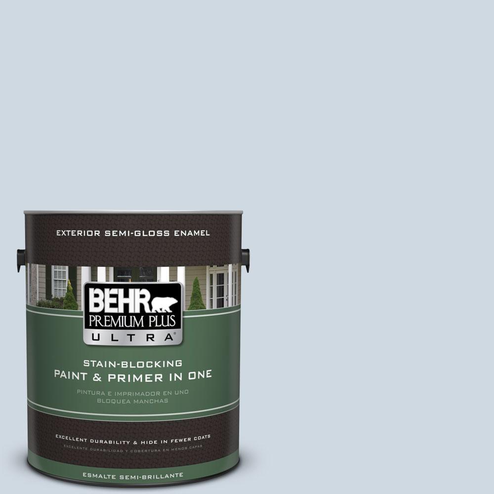 BEHR Premium Plus Ultra 1-gal. #S520-1 Pale Cornflower Semi-Gloss Enamel Exterior Paint