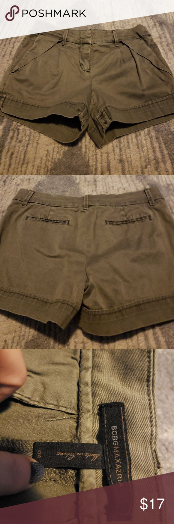 Bcbgmaxazria Olive Green Shorts, Size 4 Worn one time.  They just dont fit any more! BCBG size 4.  O...
