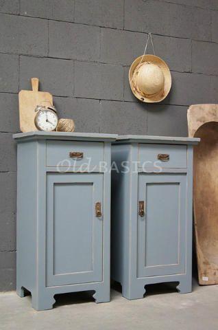 Geliefde Set nachtkastjes 30018 - Origineel oude houten nachtkastjes met &JA05