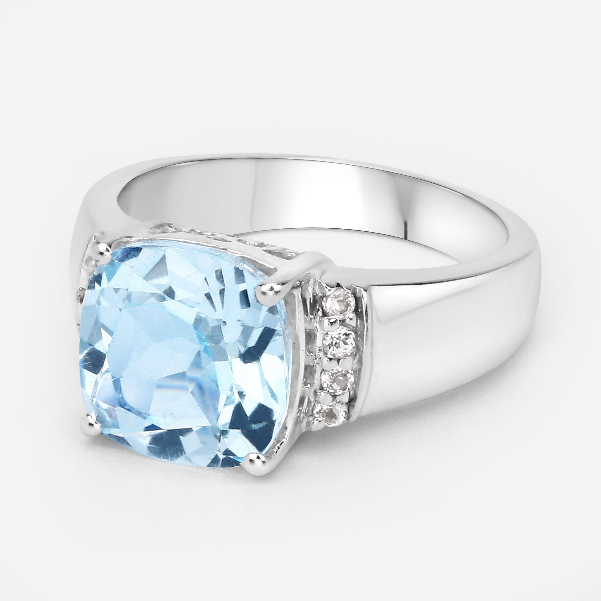 Cushion Halo December Birthstone Ring Genuine Topaz Ring Sterling Silver Ring Sky Blue Topaz