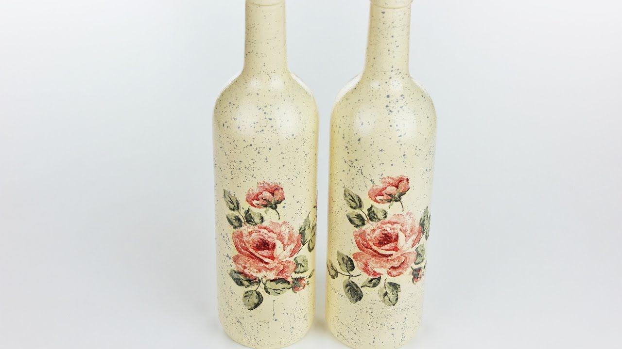 Decoupage bottles , Fast \u0026 Easy Tutorial , DIY