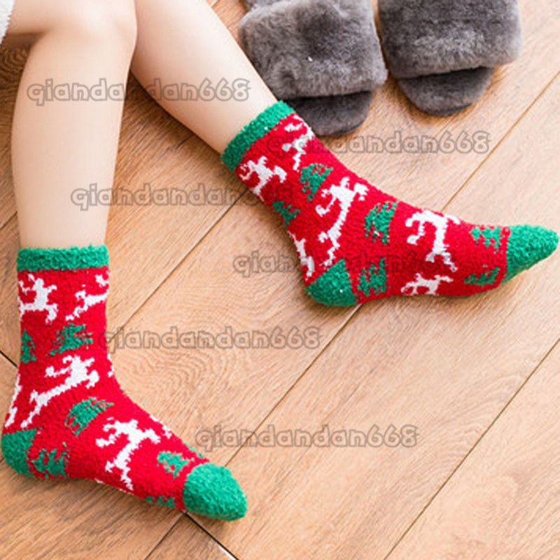 fccf9e66e21d Winter Warm Women Adult Christmas Deer Printed Coral Fleece Home Bed Soft  Socks  fashion  clothing  shoes  accessories  womensclothing  hosierysocks ( ebay ...