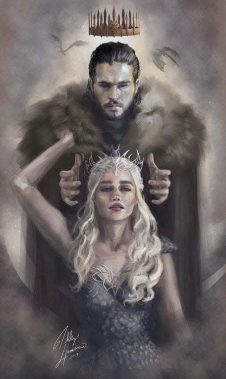 Game Of Thrones Fan Art We Sail Together Jon Snow And Daenerys