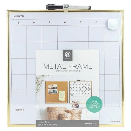 ubrands calendar dry erase board with gold metal frame magnetic with dry erase marker and