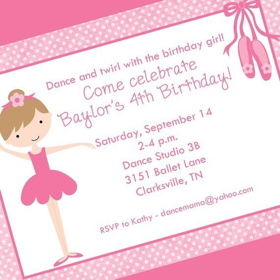 Little ballerina invitation printable invitation design custom little ballerina invitation printable invitation design custom wording jpeg file stopboris Gallery