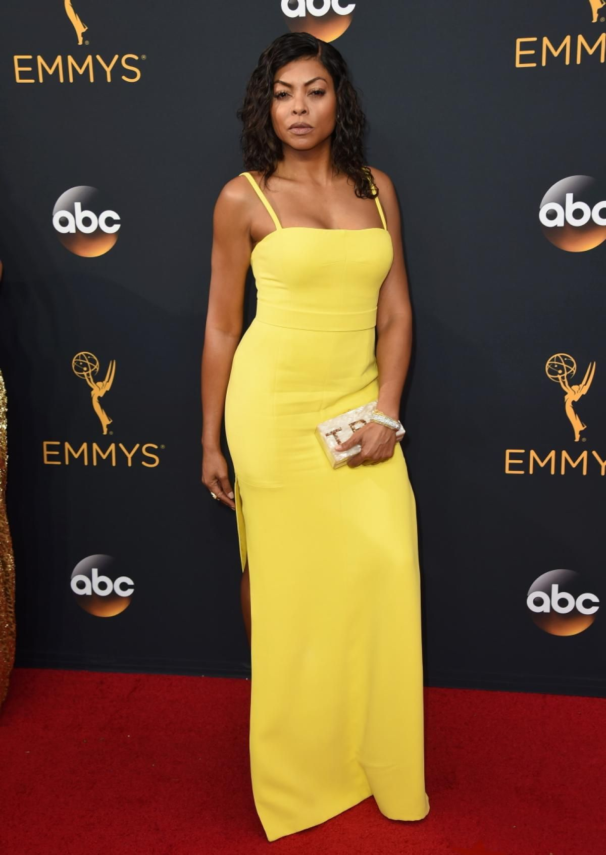 cd478e491949 Taraji P. Henson donned a bright yellow dress on the red carpet at the 68th  Primetime Emmy Awards.