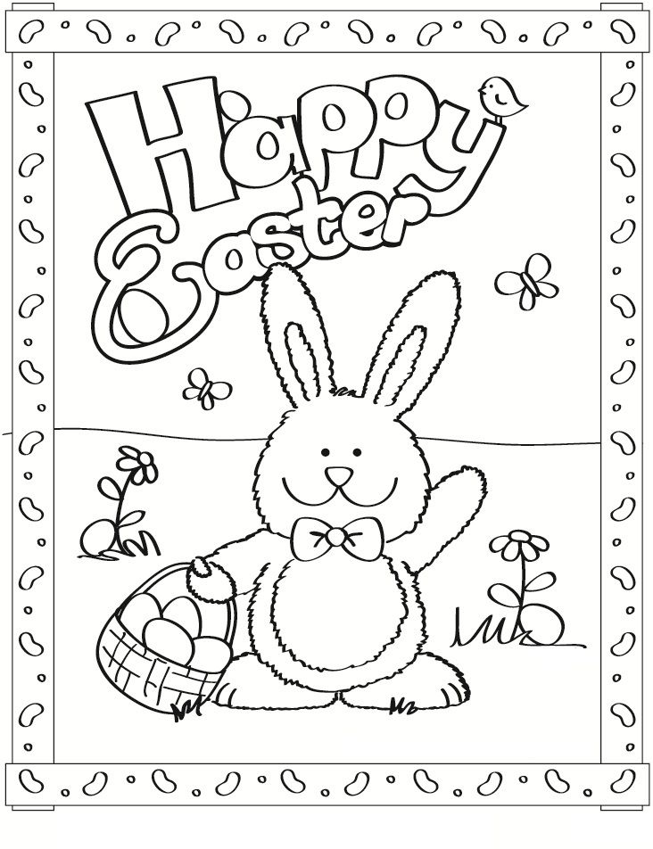 Easter Bunny Coloring For Kindergarten Portraits