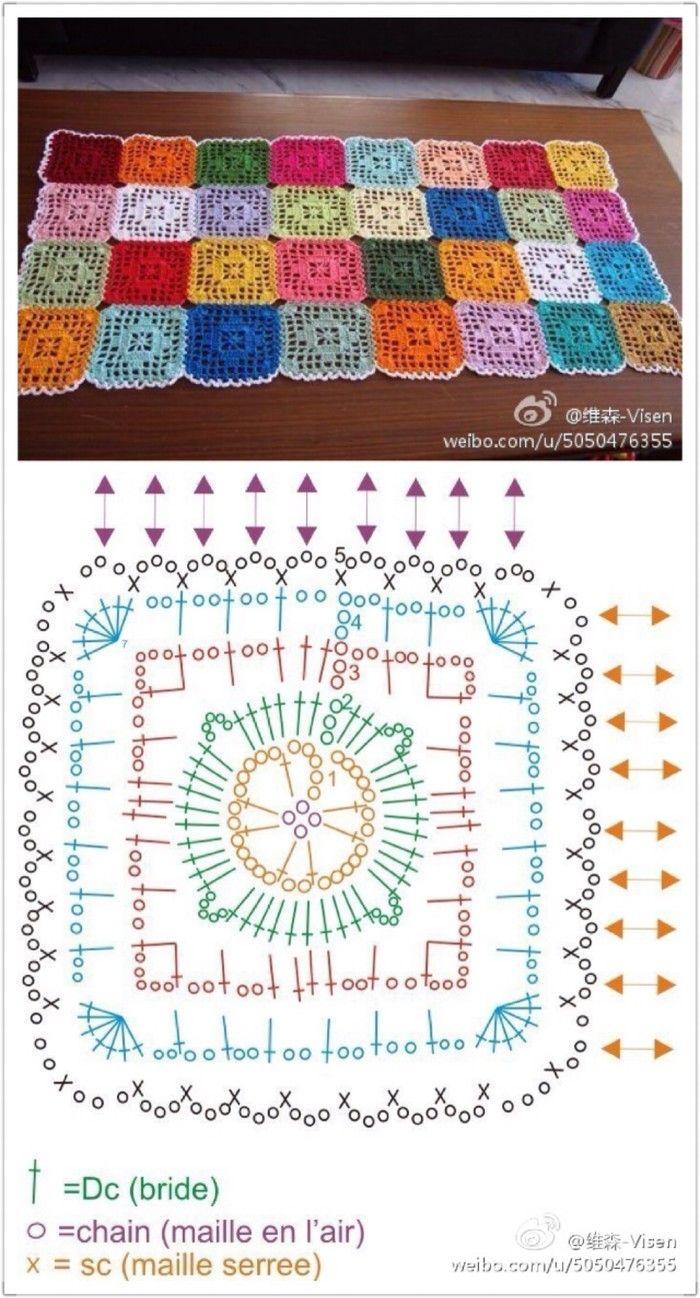 Diamond in a Square Crochet | Cuadrados, Ganchillo y Tejido