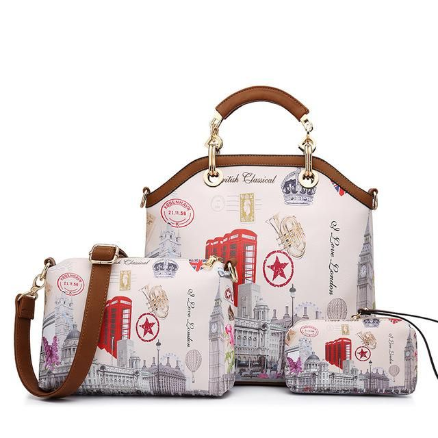 c98dbe436083 REALER women handbag 3 sets vintage printed