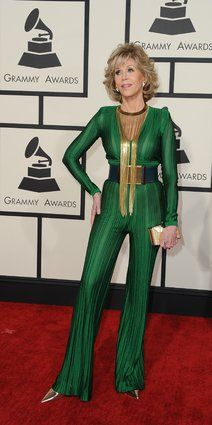 Jane Fonda (77) The 2015 Grammys Red Carpet fashion for Women over 45, fashion for women over 50, Outfits modeled by Women over 45