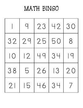 Number Bingo Cards Bingo Cards Bingo Small Group Games