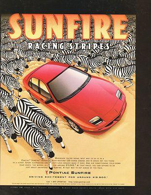 1997 Pontiac Sunfire ad with a zebra herd. 1997
