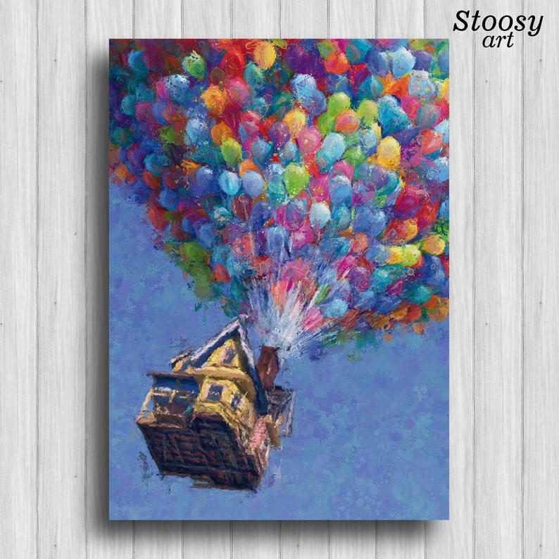 Up Print Balloon House Up Movie Poster Pixar Up House Wall Art Etsy Mini Canvas Art Diy Canvas Art Small Canvas Art