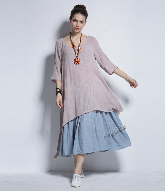 Any Size double color fake two piece soft linen & cotton ...