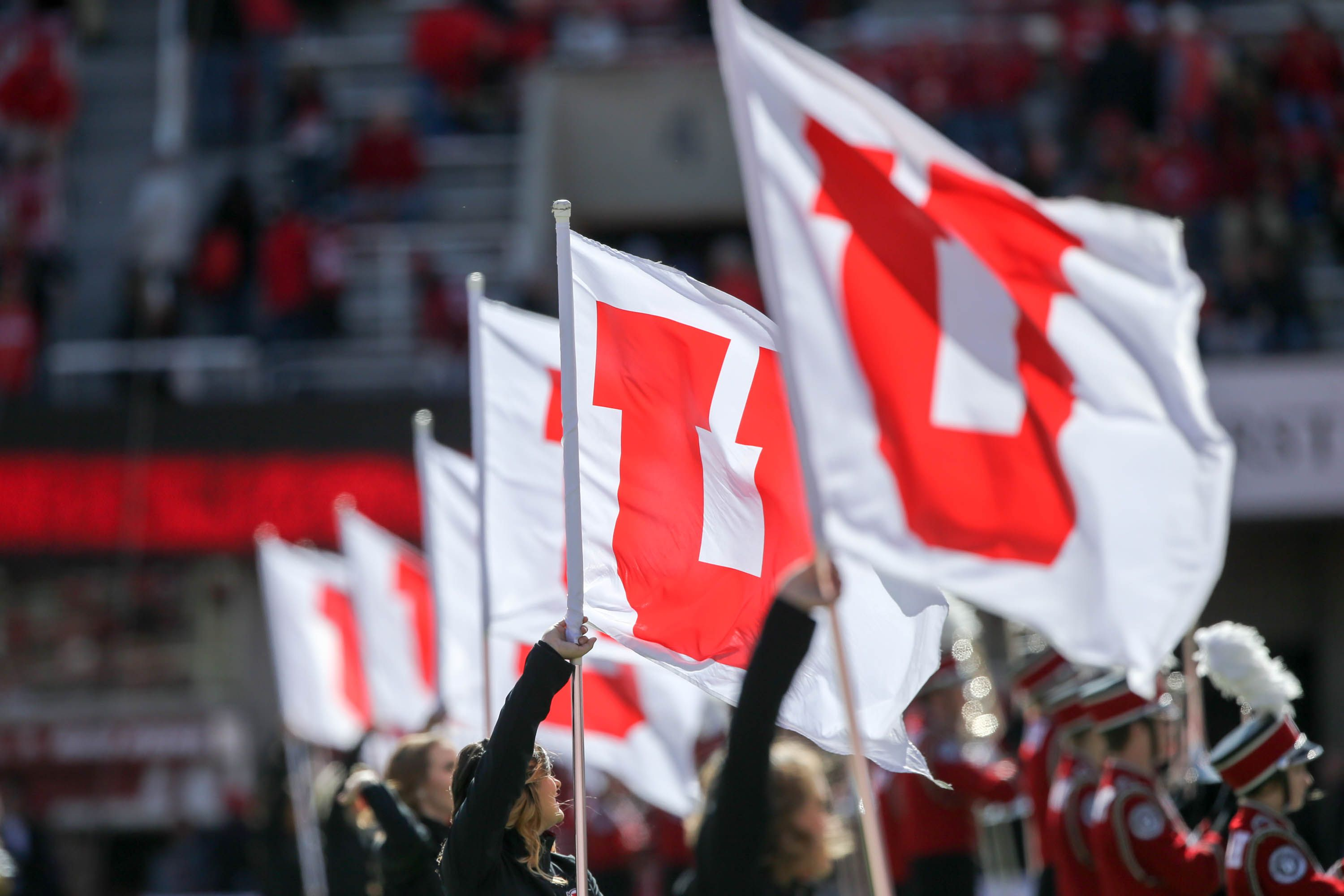 The Utah Color Guard Performs With The Marching Band During A Utah Football Game Against Arizona State Utah Football Utah Utes Color Guard