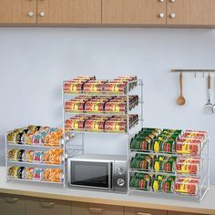 3-Tier Simple Trending Stackable Can Rack Organizer for Kitchen Cabinet or Pantry