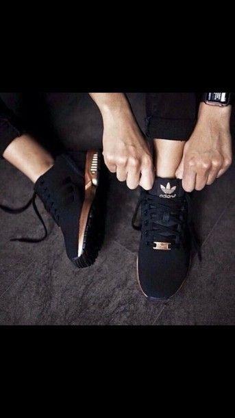 b8e3436b945fd Adidas Black Gold Originals ZX Flux Shoes sale online