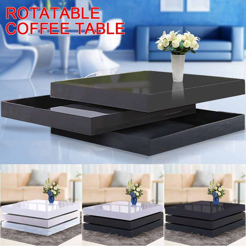 Details About New Modern 3 Layers White Black High Gloss Lacquer Mdf Rotatable Coffee Table Coffee Table White Gloss Coffee Table Centre Table Design