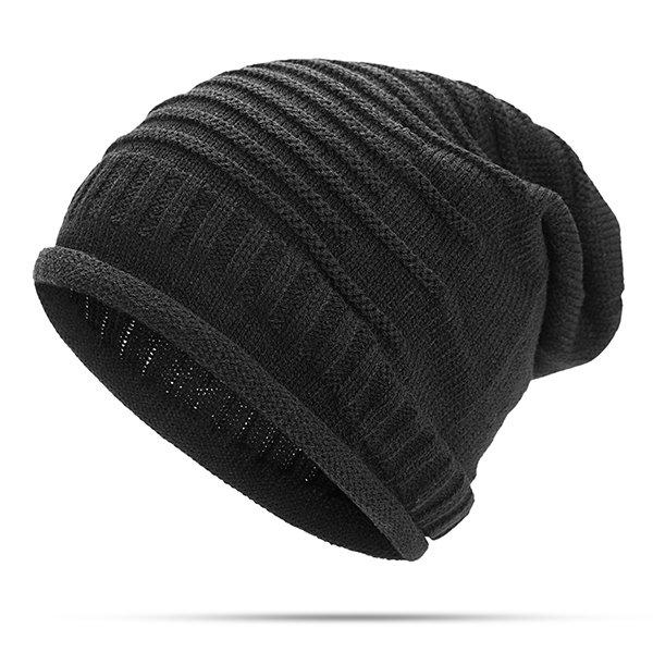 963d72f26e6 Women Knitted Woolen Stripe Beanie Cap Casual Foldable Warm Head Hat ...