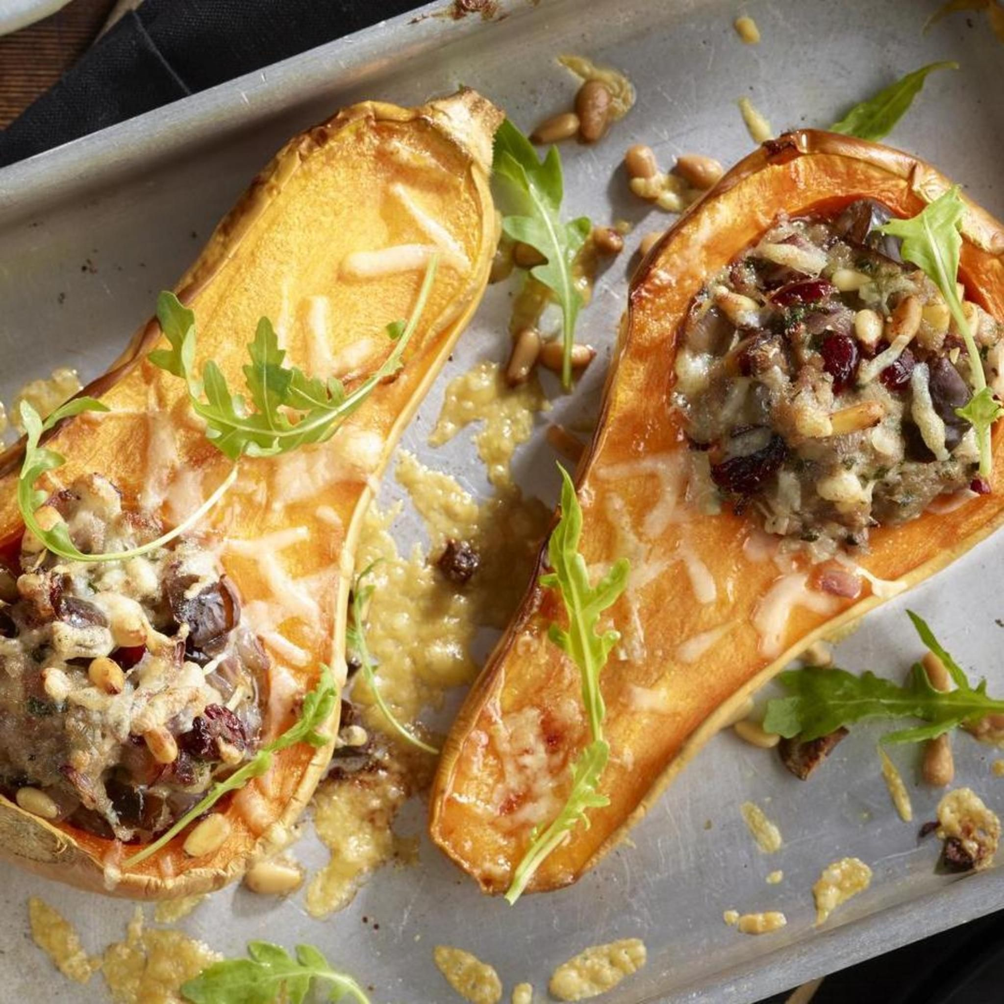 AUTUMNAL ROAST BUTTERNUT SQUASH WITH SAUSAGE STUFFING, a