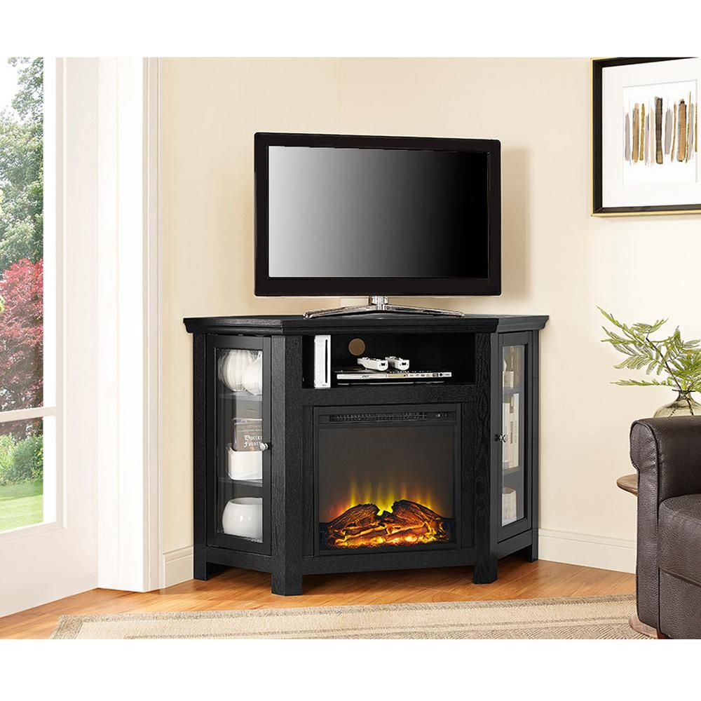 Walker Edison Furniture Company 48 Wood Corner Fireplace Tv Stand