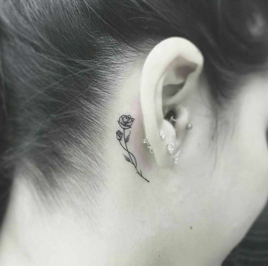 Pin By Alondra Deloa On Tattoo Designs Rose Tattoo Behind Ear