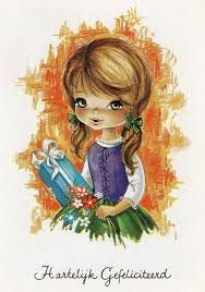 Image result for vintage big eyed girl postcard