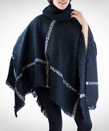 Loving this Black Check Turtleneck Poncho on #zulily! #zulilyfinds