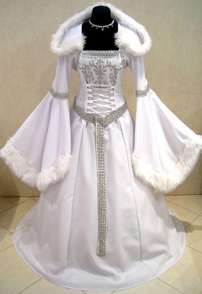 MEDIEVAL DRESS SILVER 20-22-24 XL-2XL-3XL SNOW ICE QUEEN FROZEN ELSA NARNIA ROBE #Custommade #Dress