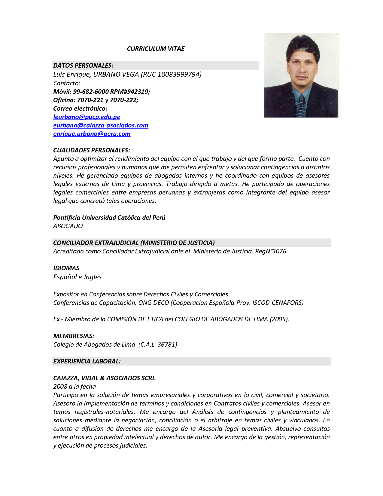 formato curriculum vitae word - Selo.l-ink.co
