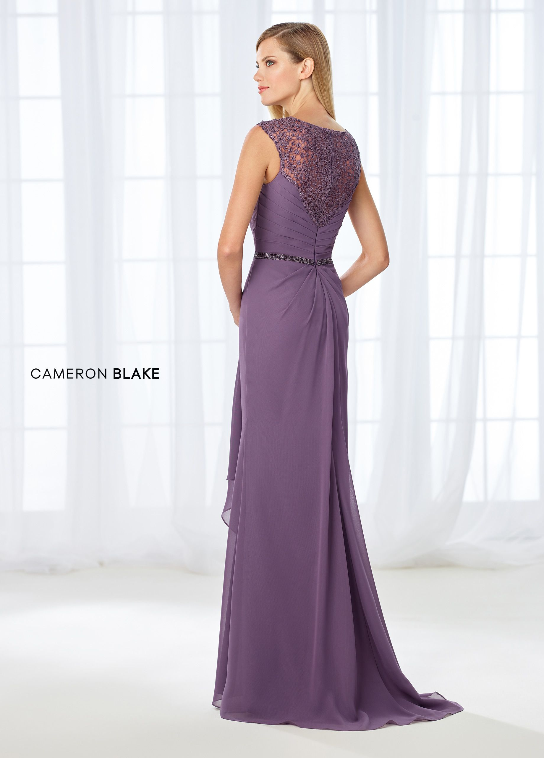 55937c0115c13 Cameron Blake 118665 - Perfectly pleated and draped, this sleeveless  chiffon and lace A-