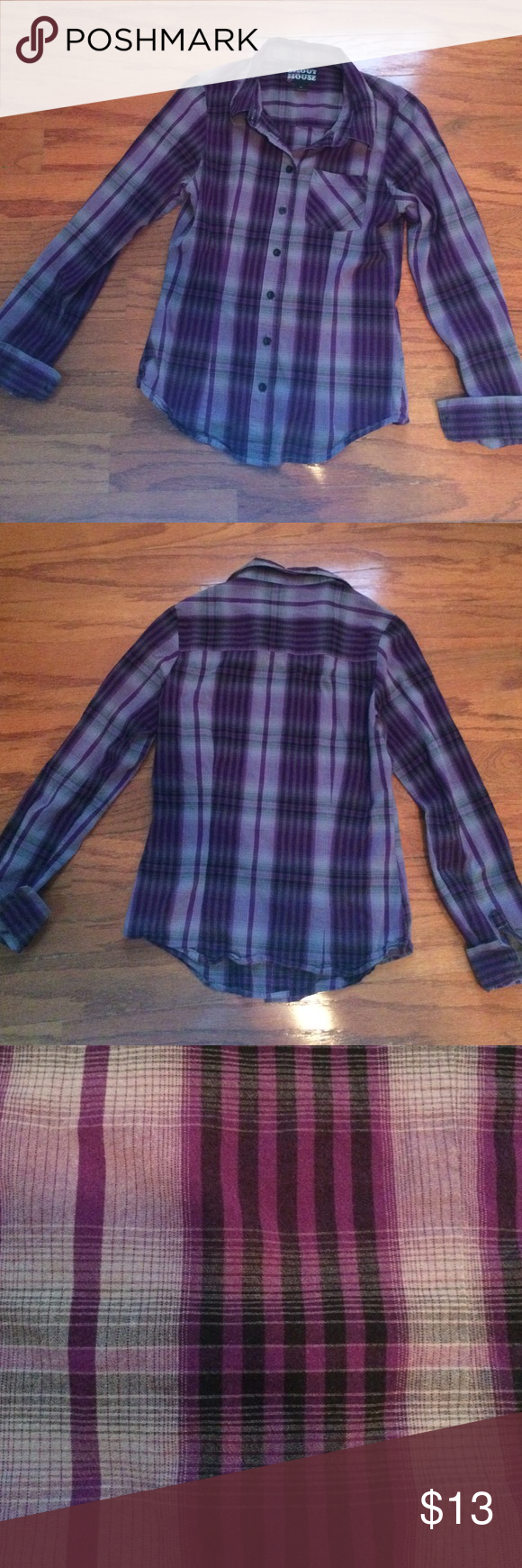 Purple flannel men  Fitted plaid buttonup Purple grey and black  Purple gray Shirt