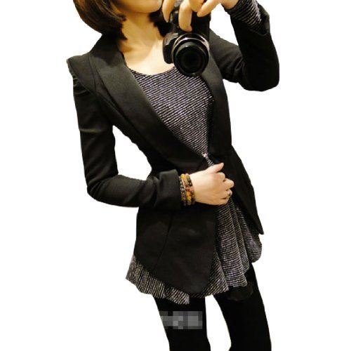 Allegra K Women Padded Shoulder Long Sleeve Autumn Blazer Black S Allegra K. $18.95