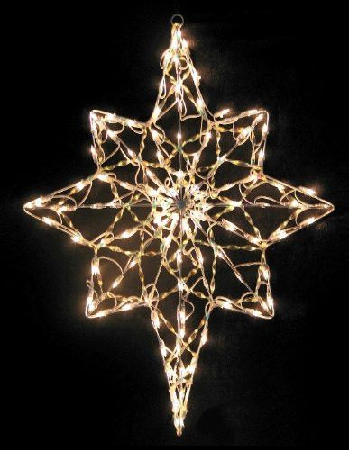 this bethlehem star makes a wonderful addition to any lighting display it is designed to be hung indoor or outdoor the tiny white lights are on a sturdy