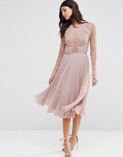 ASOS WEDDING Pretty Lace Eyelash Pleated Midi Birdesmaid Dresses ...