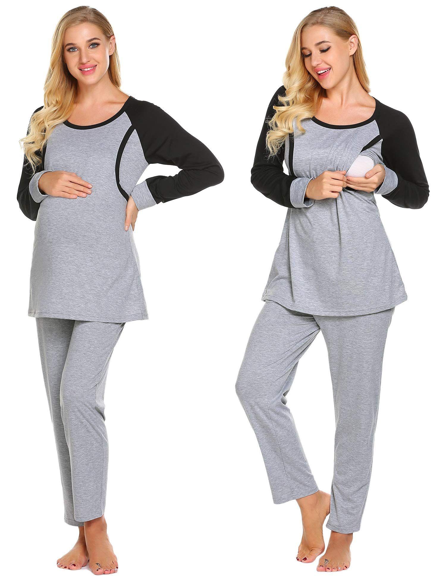 4a08e5cc28990 Ekouaer Women Nursing Pajamas Hospital Maternity PJS Set Pregnancy Breastfeeding  Sleepwear,Pink,Large